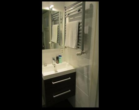 Great bright lighting and space for your toiletries
